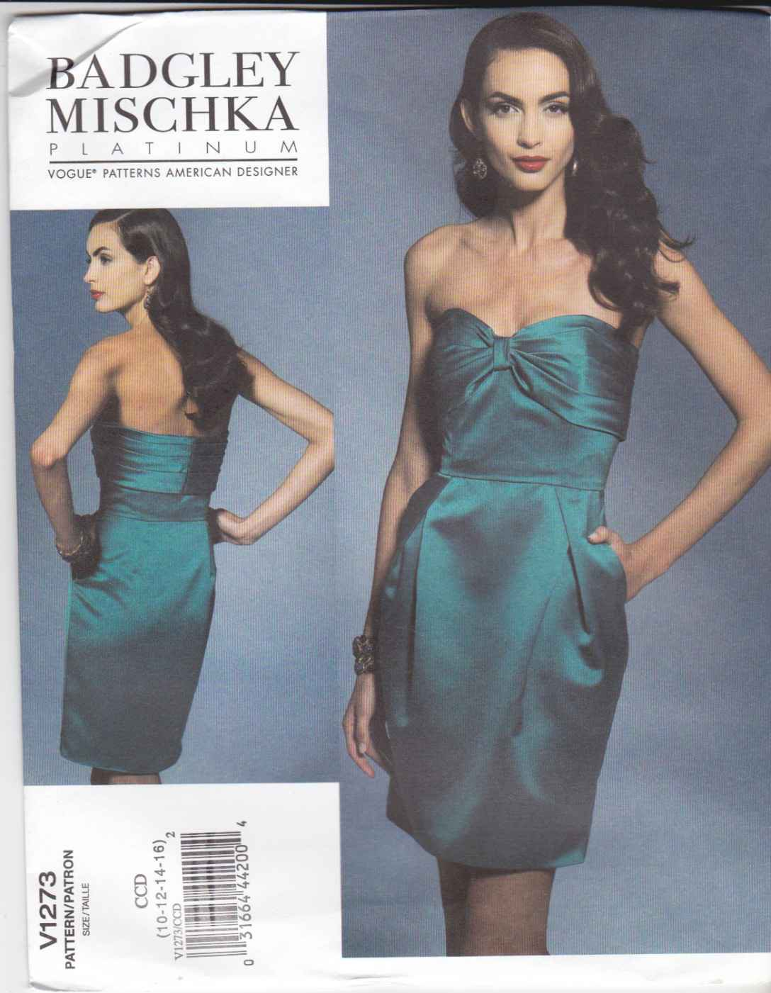 Vogue Sewing Pattern 1273 V1273 Misses Size 10-16 Badgley Mischka Strapless Straight Lined Dress