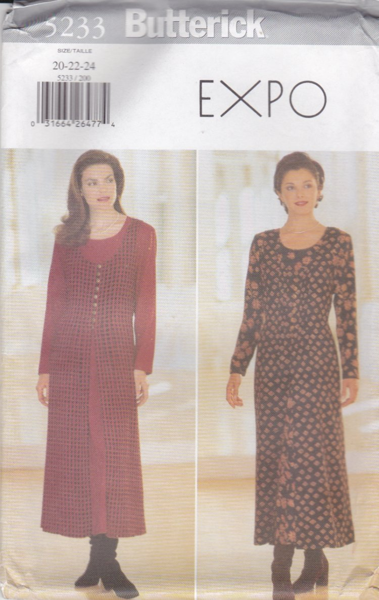 Butterick Sewing Pattern 5233 Misses Size 20-24 Easy Loose-Fitting Pullover Dress Tunic