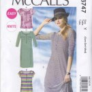 McCall's Sewing Pattern 6747 Misses Sizes 4-14 Easy Knit Tops Dresses Sleeve Variations