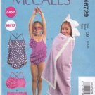 McCall's Sewing Pattern 6729 Girls Toddlers Sizes 3-6 Easy Swimsuit Bathing Suit Two Piece Cover-up