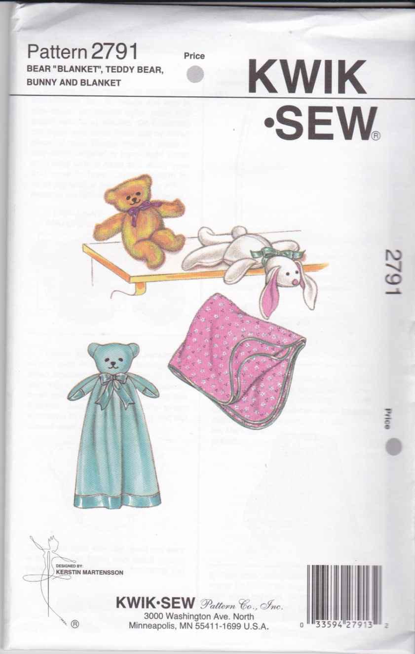 Kwik Sew Sewing Pattern 2791 Baby Toys Bear Blanket Teddy Bear Bunny