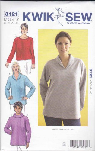 Kwik Sew Sewing Pattern 3121 K3121 Misses Sizes XS-XL (8-22) Pullover Knit Long Sleeve Top