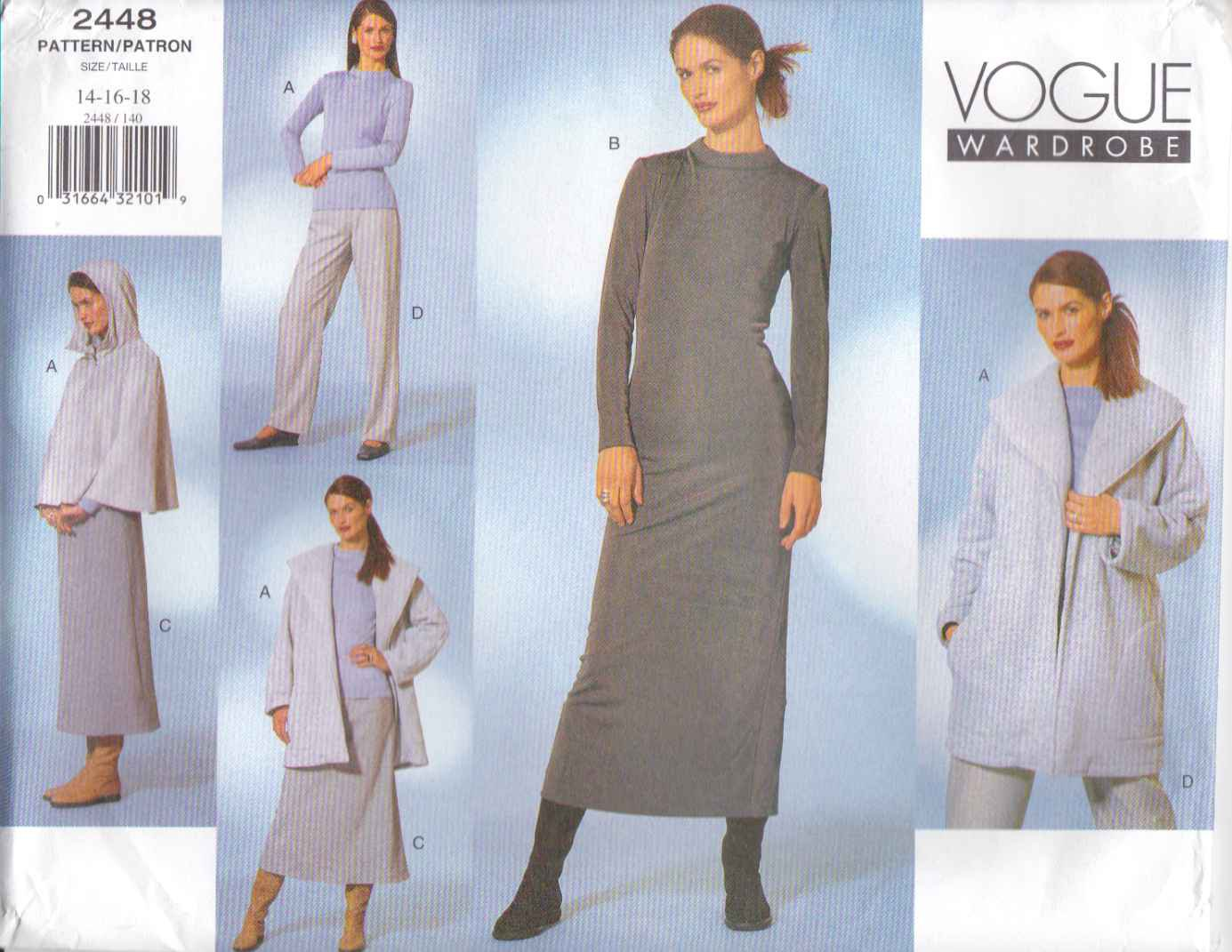 Vogue Sewing Pattern 2448 Misses size 14-16-18 Easy Wardrobe Jacket Cape Dress Pants Skirt Top