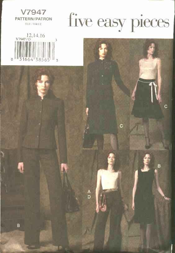 Vogue Sewing Pattern 7947 Misses Size 18-20-22 Easy Wardrobe Jacket Top Dress Skirt Pant