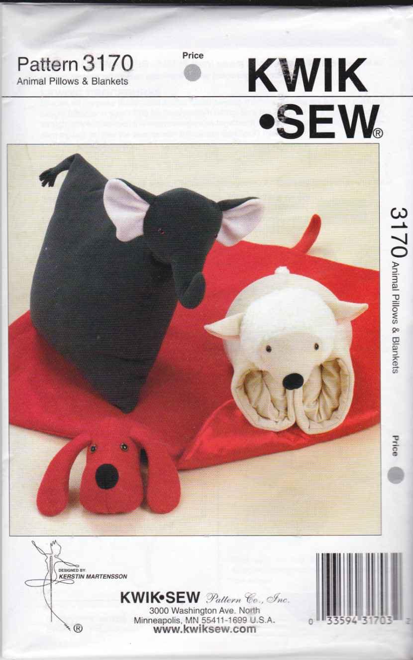 Animal Pillow Patterns To Sew : Kwik Sew Sewing Pattern 3170 Children s Animal Pillows Blankets