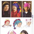 "Kwik Sew Sewing Pattern 3208 Adult & Children Sizes 19 -24"" Head Fleece Hats"