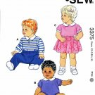 Kwik Sew Sewing Pattern 3375 Babies Size XS-XL (8#-26#) Baby Onsies Pants Dress