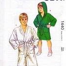 Kwik Sew Sewing Pattern 1440 Boys Size 4-7 Belted Wrap Front Bath Robe Optional Hood