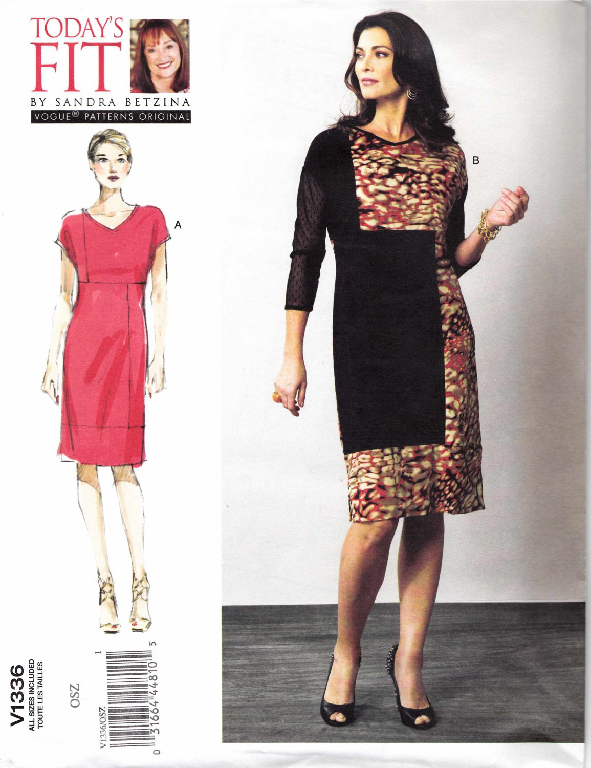 Vogue Sewing Pattern 1336 V1336 Misses'/Women's Plus Size 10-32W Betzina Easy Color Blocked Dress