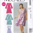 McCalls Sewing Pattern 6890 Misses' Size 16-26 Easy Pullover Dress Sleeve Neck Options
