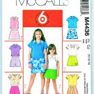 McCalls Sewing Pattern 4436 Girls Size 10-14 Easy Pullover Knit Tops Shorts Skorts