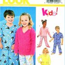 New Look Sewing Patterns 6131 Girls Boys Sizes 3-8 Pajamas Pullover Tops Pants