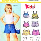 New Look Sewing Patterns 6259 Girls Sizes 1/2 - 4 Easy Shorts Skirt Top Suntop Purse