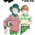 Kwik Sew Sewing Pattern 806 Boys Sizes 4-10 Pullover Knit Rugby Shirt Long Short Sleeves