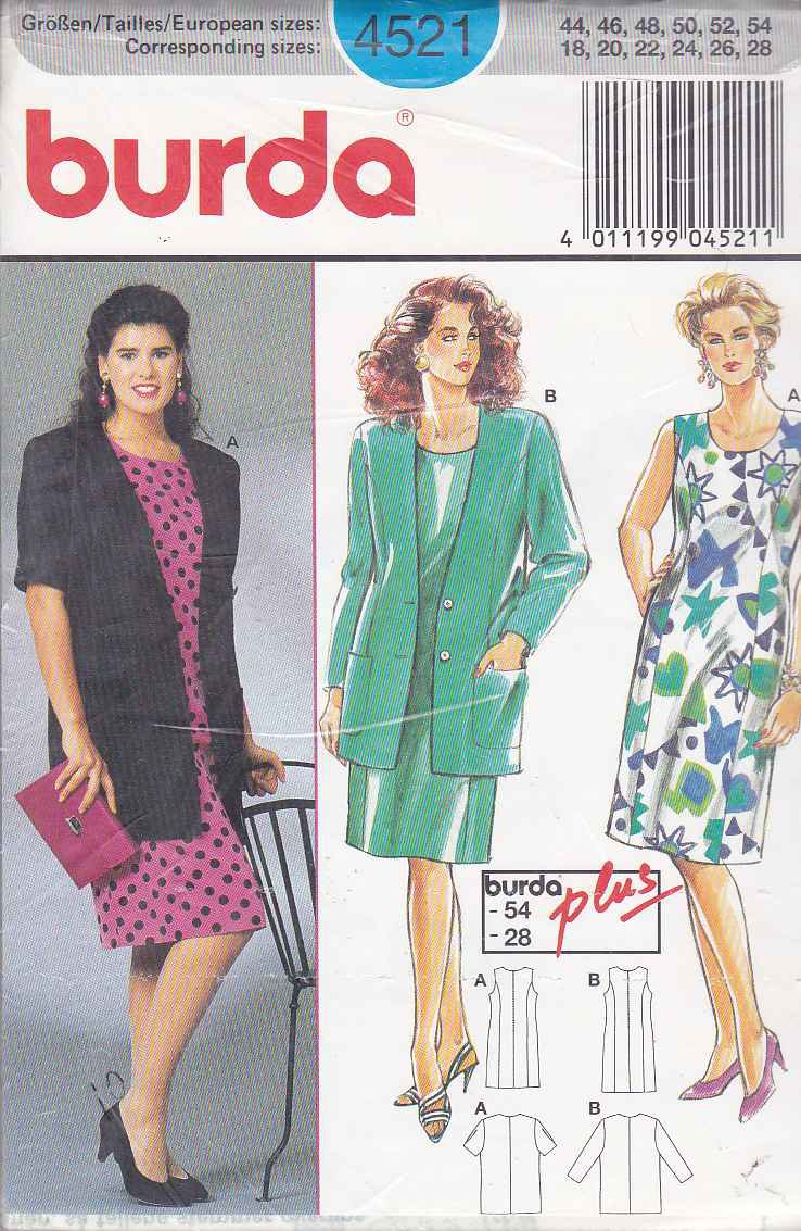 Burda Sewing Pattern 4521 Women S Plus Sizes 18 28 Classic