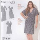Simplicity Sewing Pattern 1653 Womens Plus Sizes 20W-28W Mock Wrap Knit Dress Sleeve Bust Options