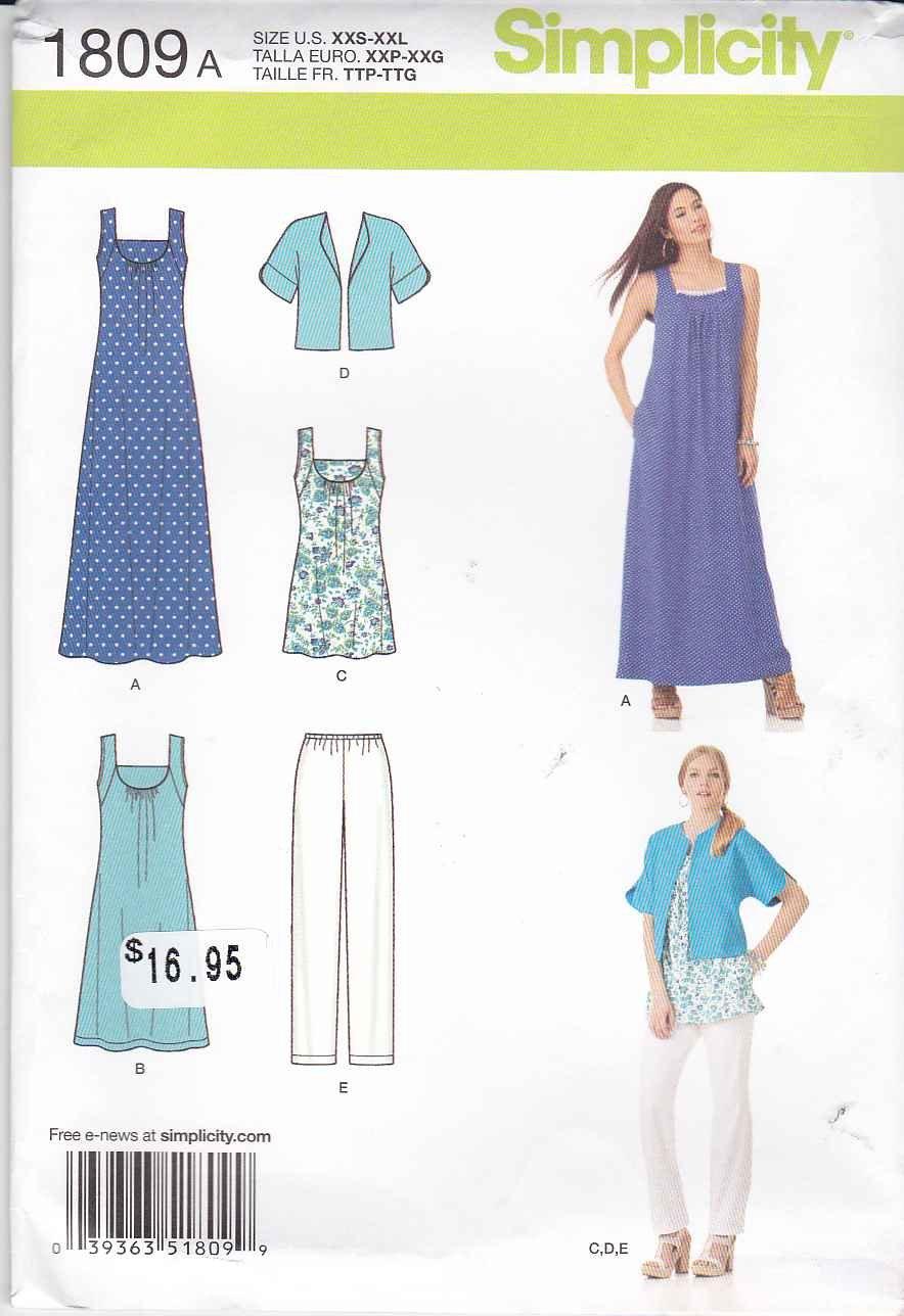 Simplicity Sewing Pattern 1809 Misses Sizes XXS-XXL (4-26) Wardrobe Dress Top Pants Jacket