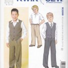 Kwik Sew Sewing Pattern 3399 Boys Sizes XS-XL 4-14 Dress Pants Trousers Button Front Vest
