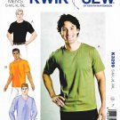 "Kwik Sew Sewing Pattern 3299 Men's Sizes S-XXL (chest 34""- 52"") Knit Pullover T-Shirts"