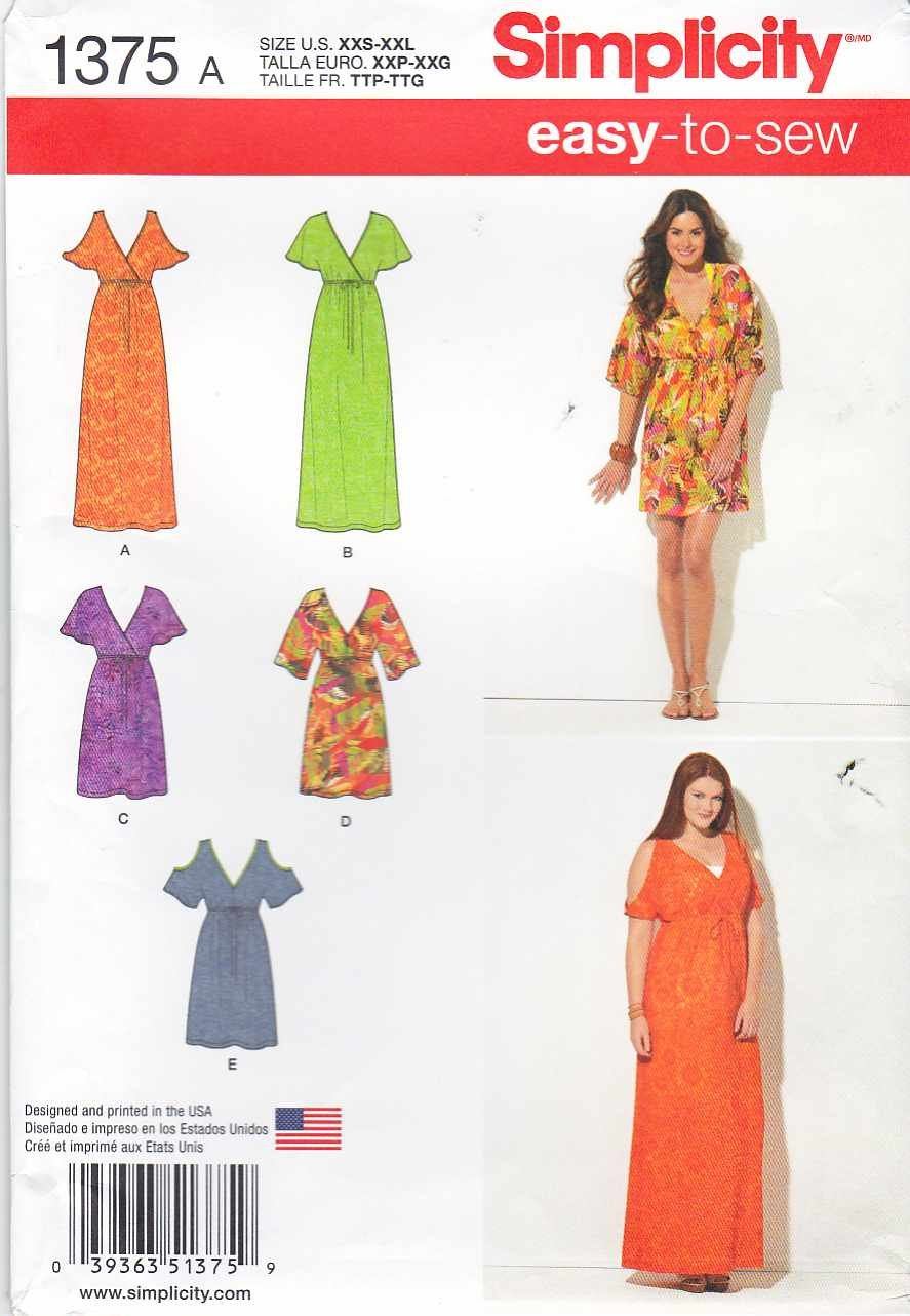 Simplicity Sewing Pattern 1375 Misses Sizes 4-26 Easy Pullover Raised Waist Dress Sleeve Options