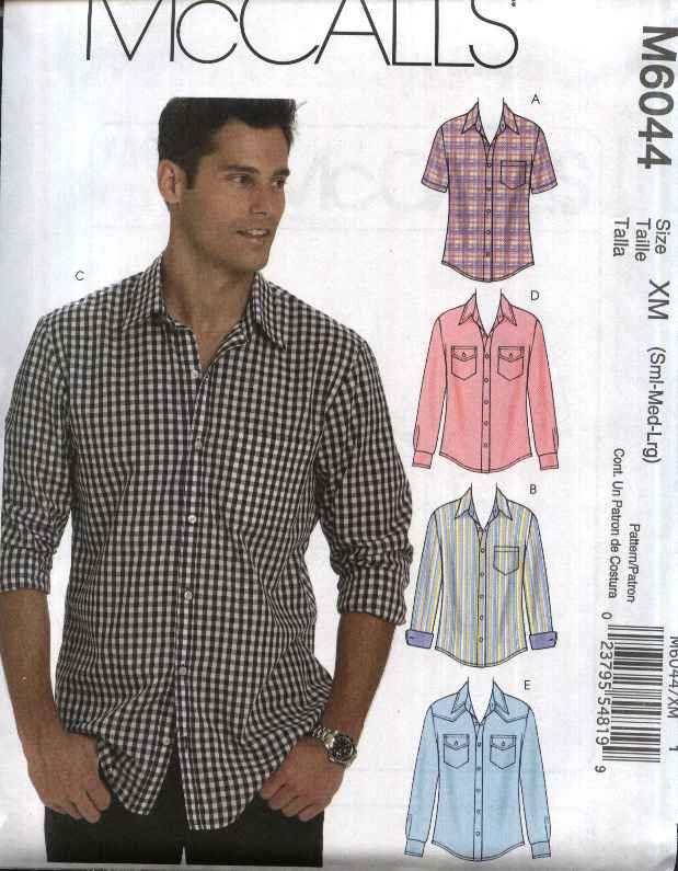 """McCall�s Sewing Pattern 6044 Mens Chest Size 34-44"""" Button Front Short Long Sleeve Western Shirts"""