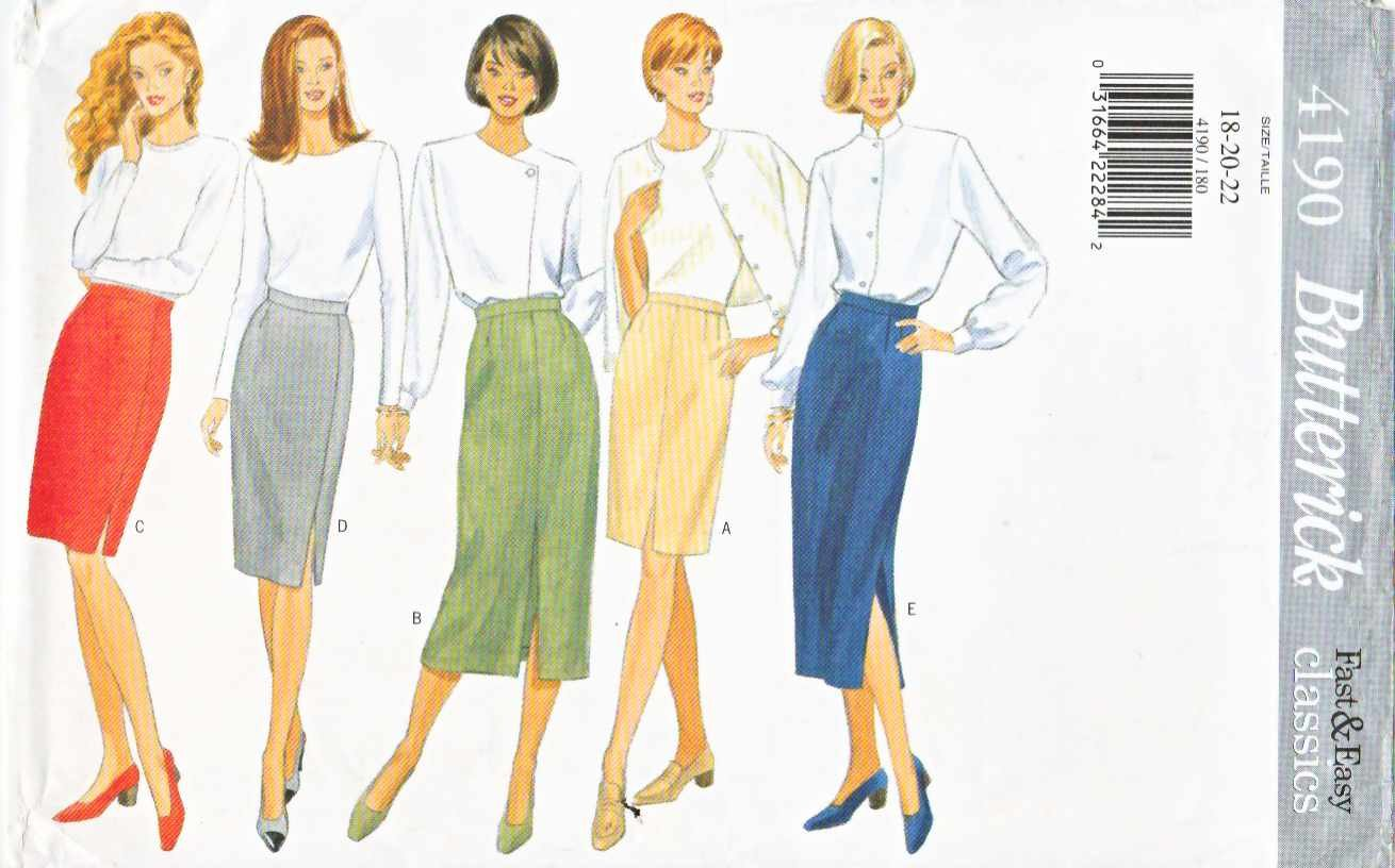Butterick Sewing Pattern 4190 Misses Size 6-8-10 Easy Classic Straight Pencil Skirt Length Options