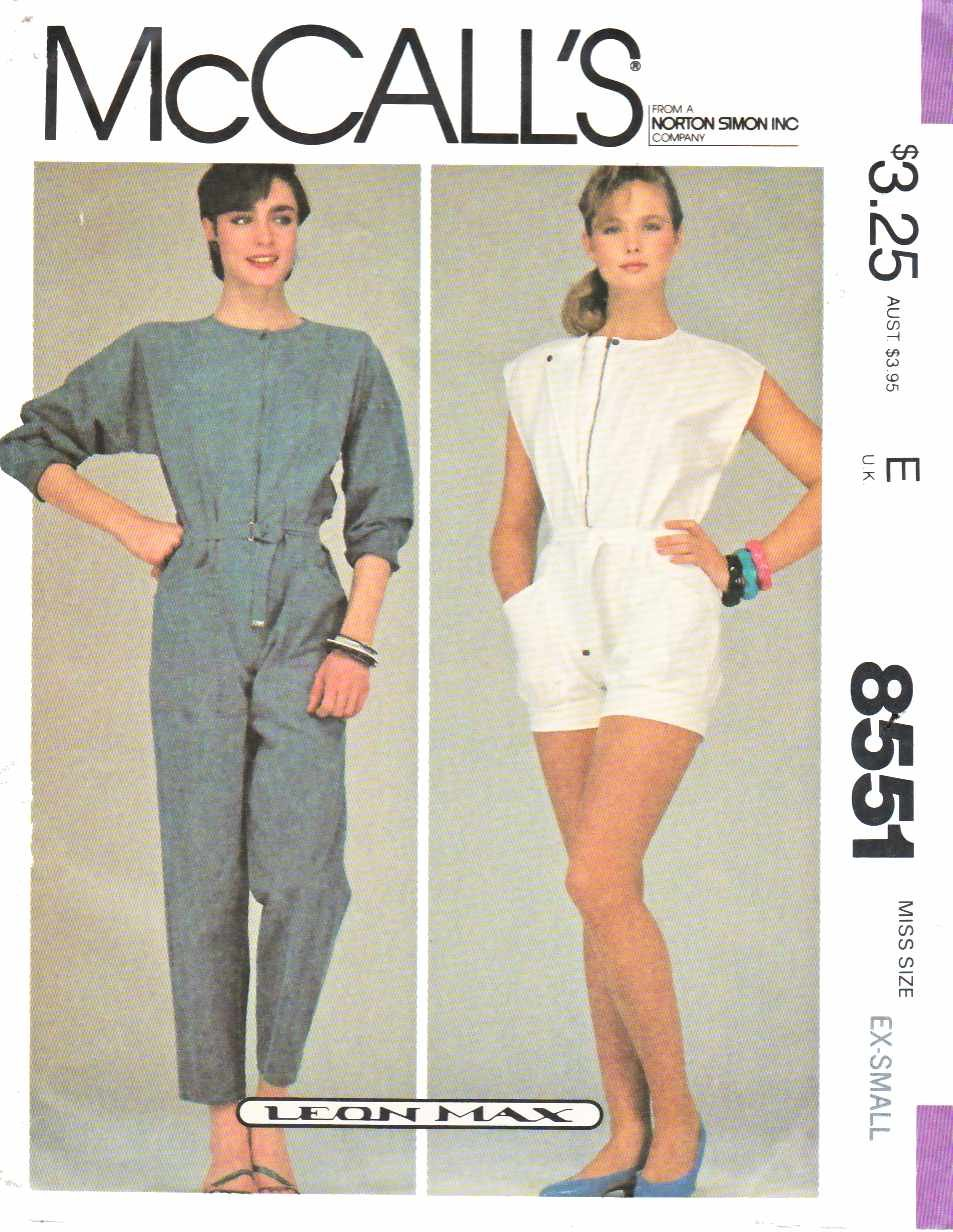 McCall's Sewing Pattern 8551 M8551 Misses Size 6-8 Jumpsuit Romper Belt Sleeve Length Options