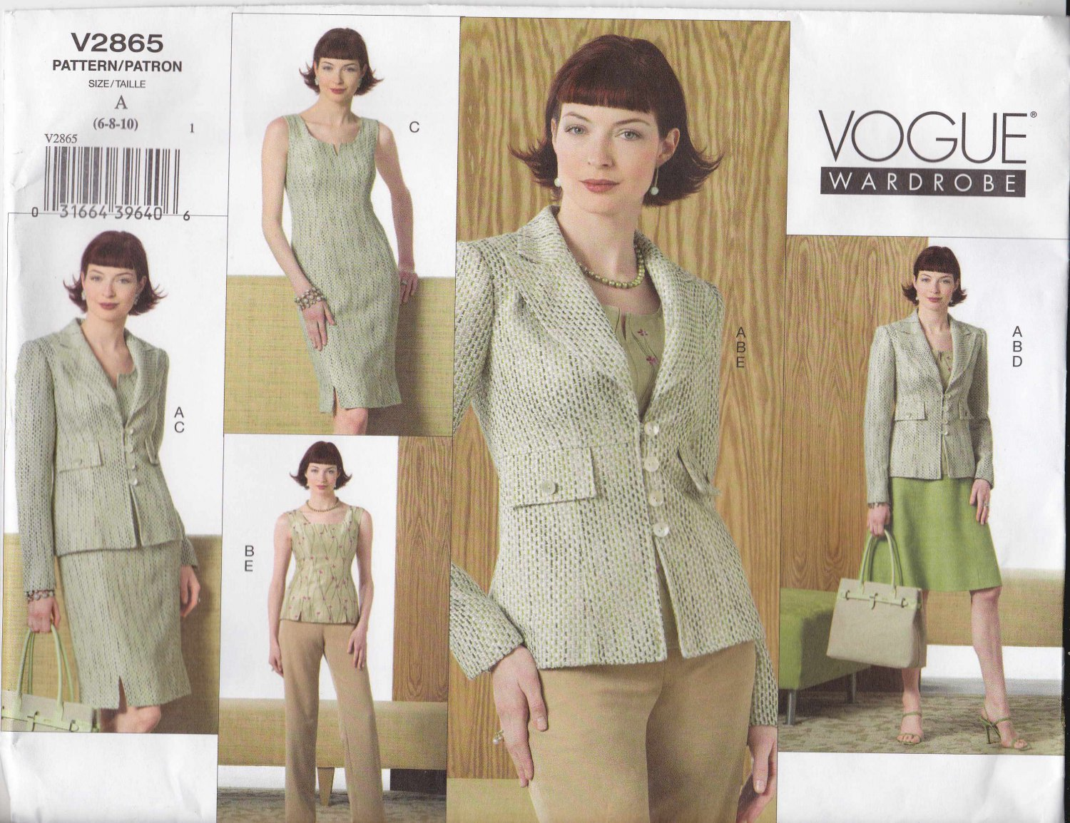 Vogue Sewing Pattern 2865 Misses Size 6-8-10 Wardrobe Top Pants Jacket Skirt Dress