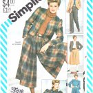 Simplicity Sewing Pattern 5618 Misses Size 8 Wardrobe Jacket Blouse Skirt-Split Skirt Culottes