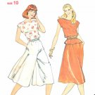 Butterick Sewing Pattern 3909 Misses Size 10 Pullover Top Flared Skirt Culottes Split-Skirt