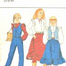 Butterick Sewing Pattern 4511 Girls' Size 7-8-10 Wardrobe Skirt Blouse Vest Pants