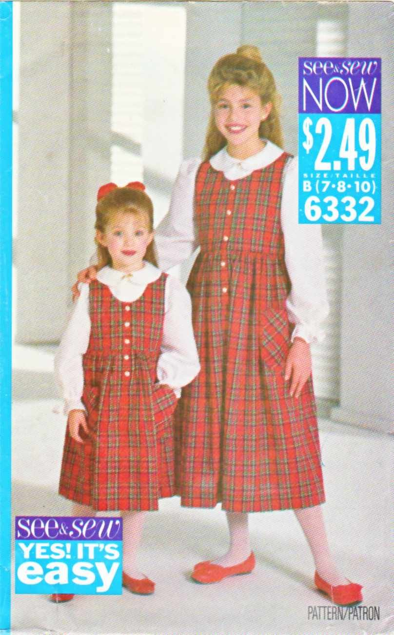 Butterick Sewing Pattern 6332 Girls' Size 7-8-10 Easy Pullover Jumper Button Front Blouse