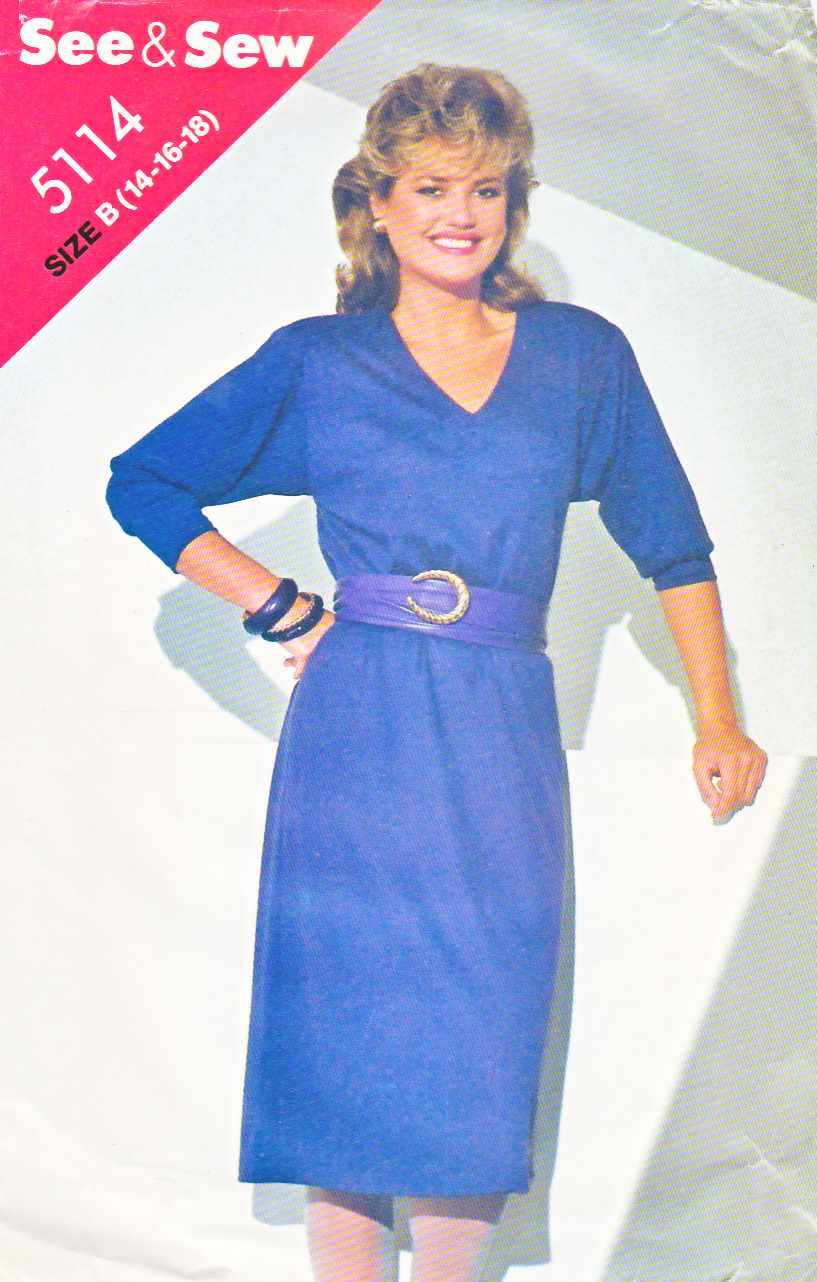 Butterick Sewing Pattern 5114 Misses Size 14-18 Pullover A-Line Long Sleeve Dress