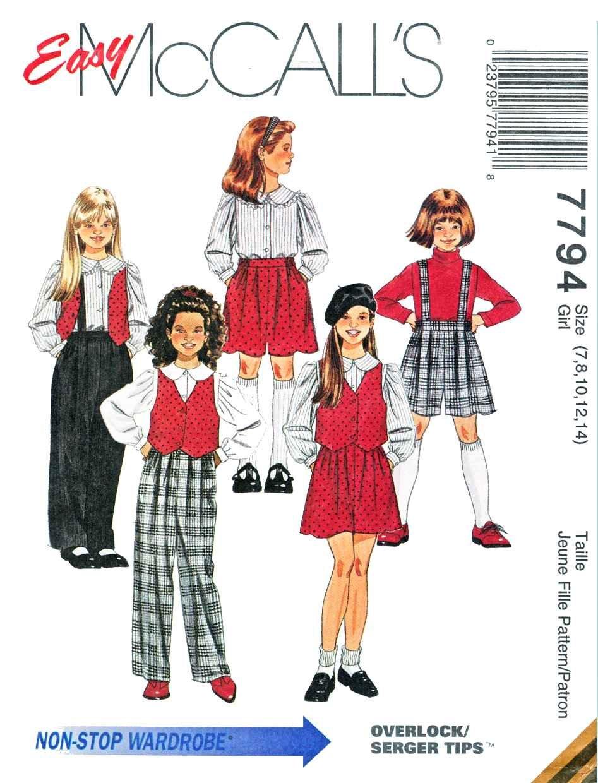 McCalls Sewing Pattern 7794 Girls Size 7-14 Easy Wardrobe Pants Vest Blouse Shorts