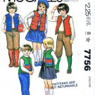 McCalls Sewing Pattern 7756 Girls Size 2 Easy Vest Skirt Pants Knickers Applique