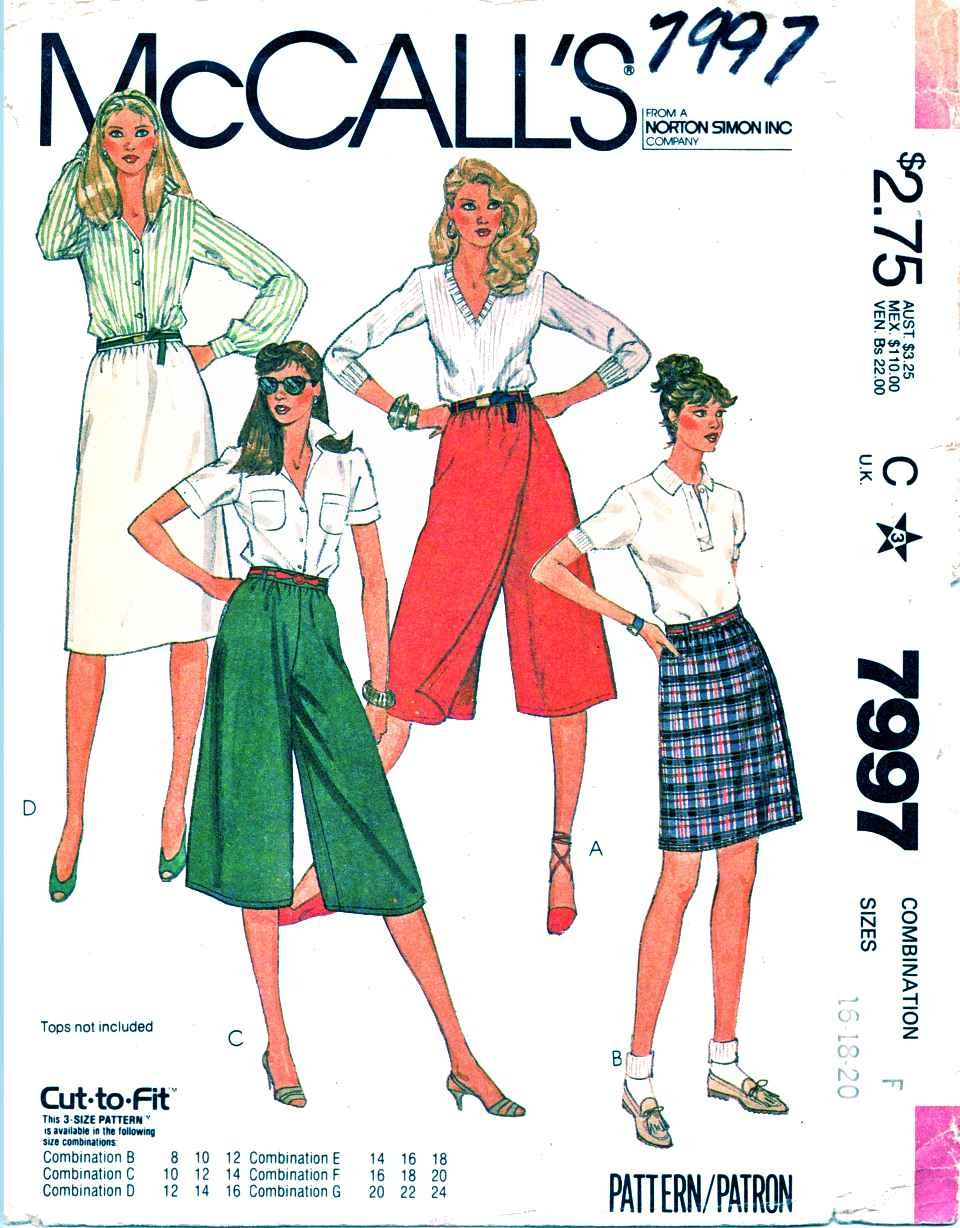 McCalls Sewing Pattern 7997 Misses Size 16-20 Mock Front Wrap Culottes Straight Skirt