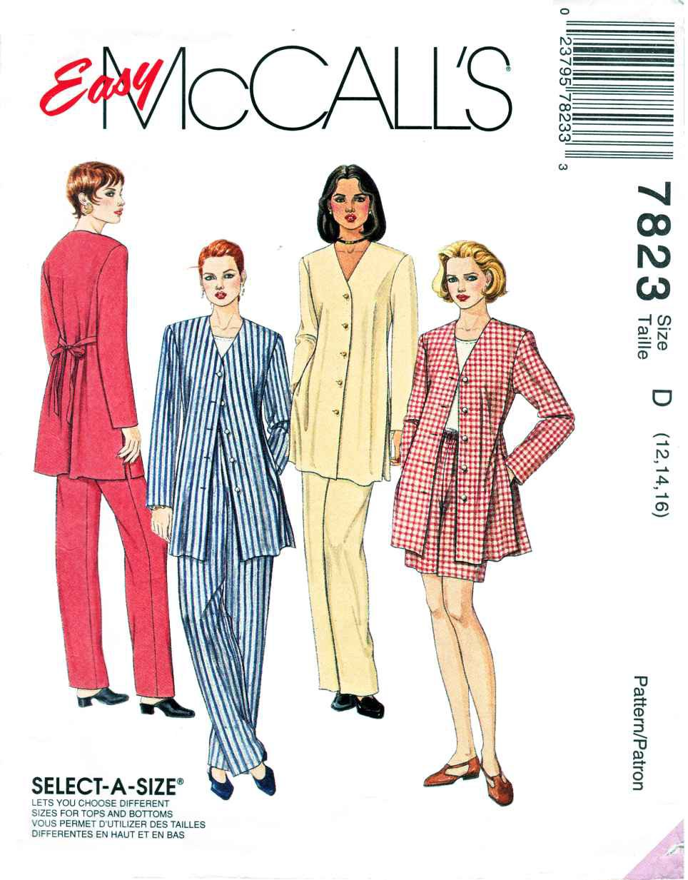 McCalls Sewing Pattern 7823 Misses Size 10-14 Top Unlined Jacket Pants Shorts