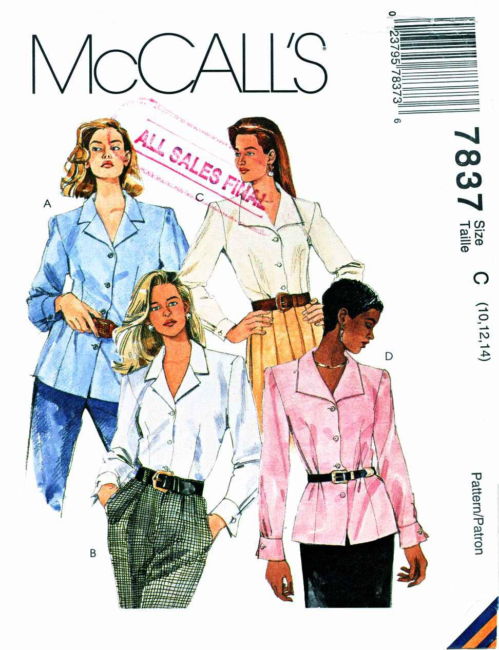 McCalls Sewing Pattern 7837 Misses Size 10-14 Button Front Long Sleeve Blouse Shirt