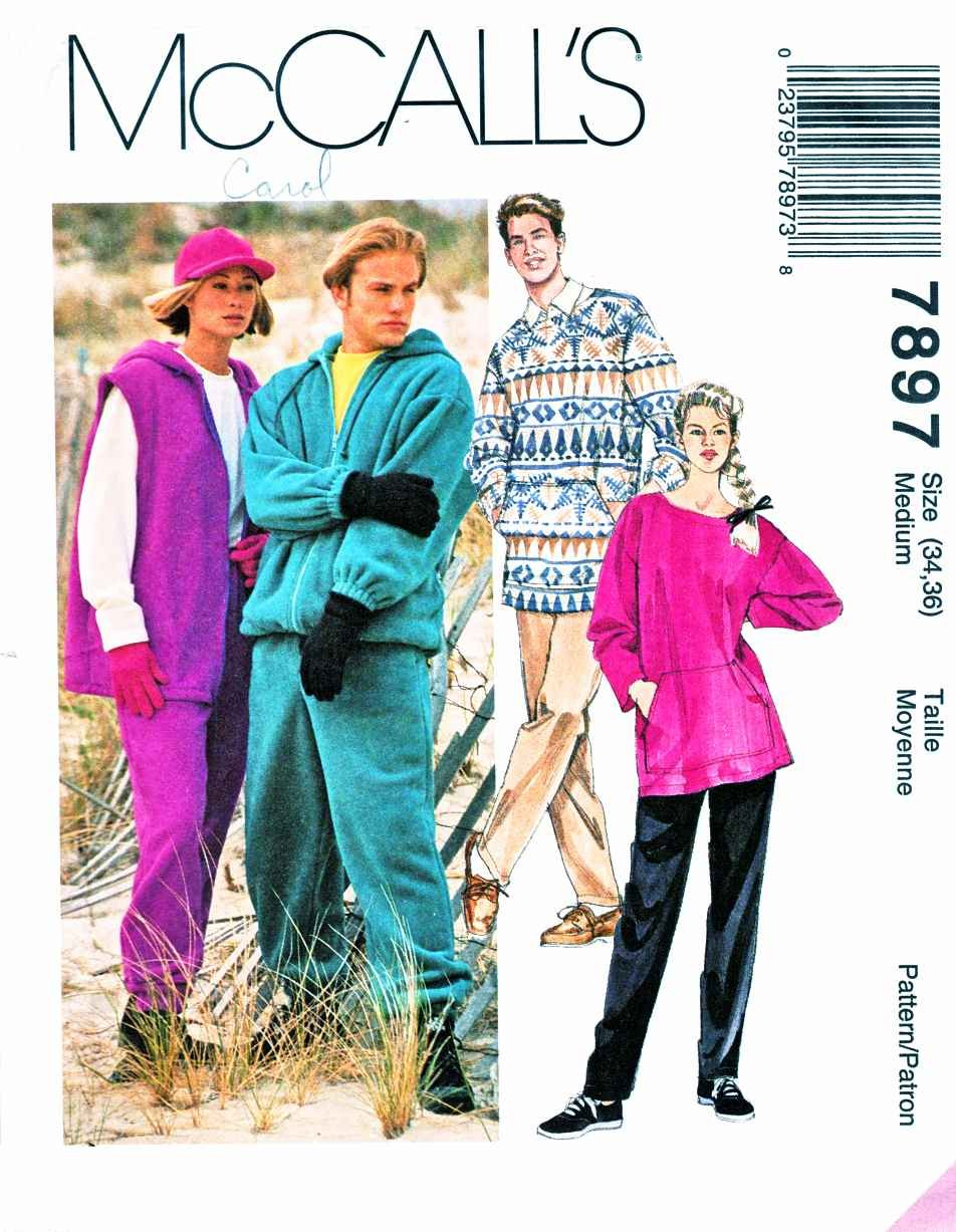 "McCalls Sewing Pattern 7897 Mens Misses Chest Size 34-36"" Hoodie Sweatpants Top Vest Jacket"