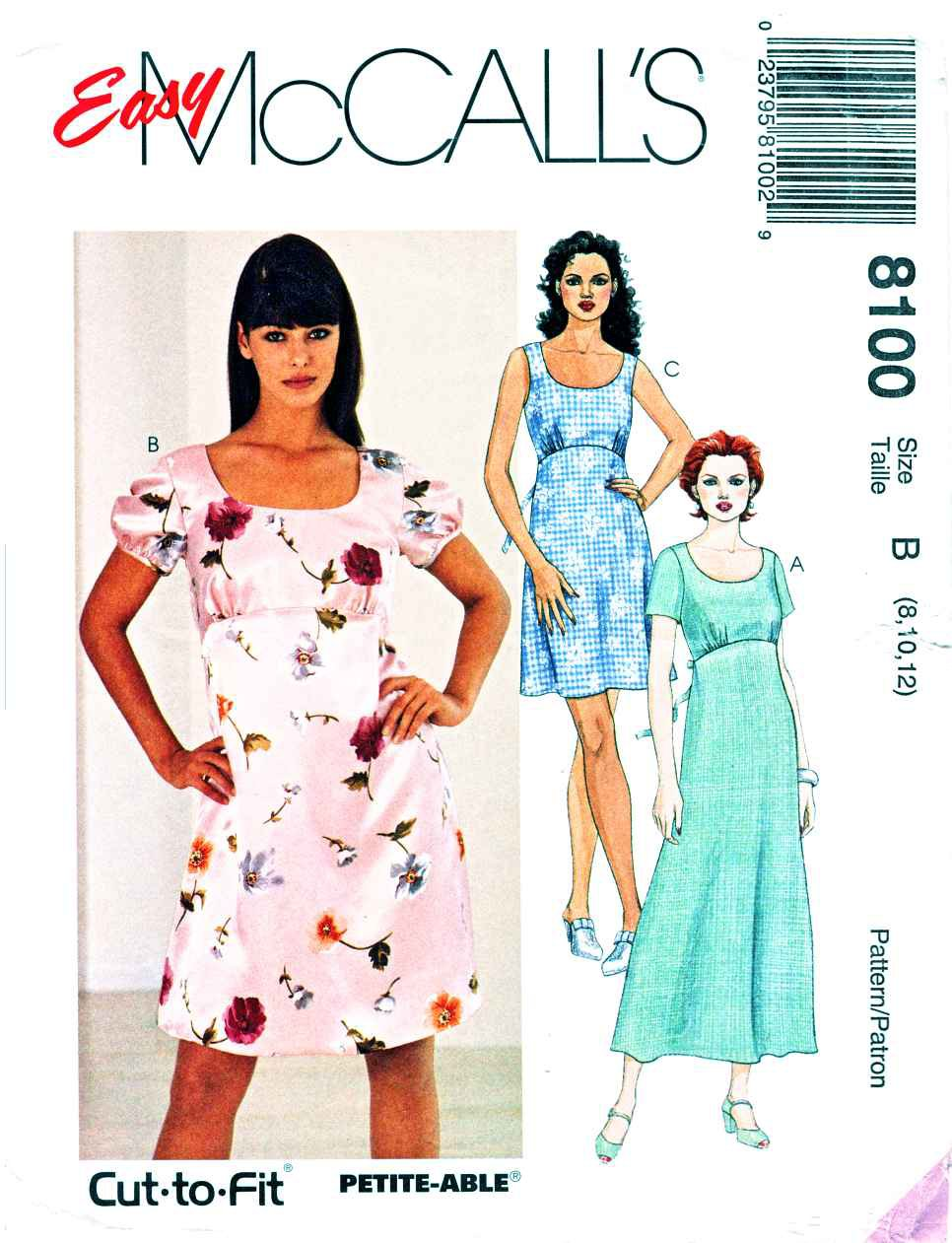McCalls Sewing Pattern 8100 Misses Size 8-10-12 Easy Empire Waist Dress Length Sleeve Options