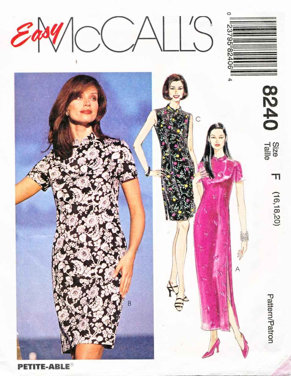 McCalls Sewing Pattern 8240 Misses Size 16-20 Easy Straight Cheongsam Style Dress