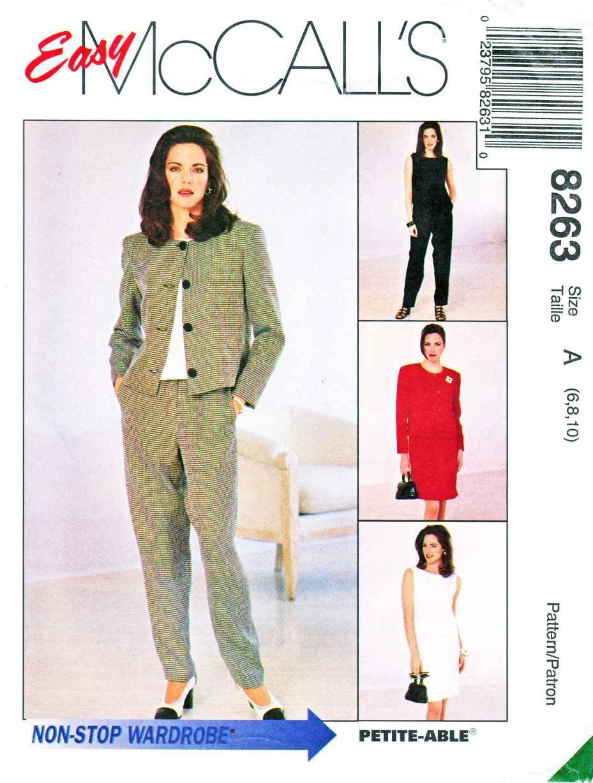 McCalls Sewing Pattern 8263 Misses Size 6-10 Easy Wardrobe Jacket Dress Top Pants Skirt