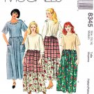 McCalls Sewing Pattern 8345 Misses Size 12-14 Loose-Fitting Pullover Dress Sleeve Skirt Options