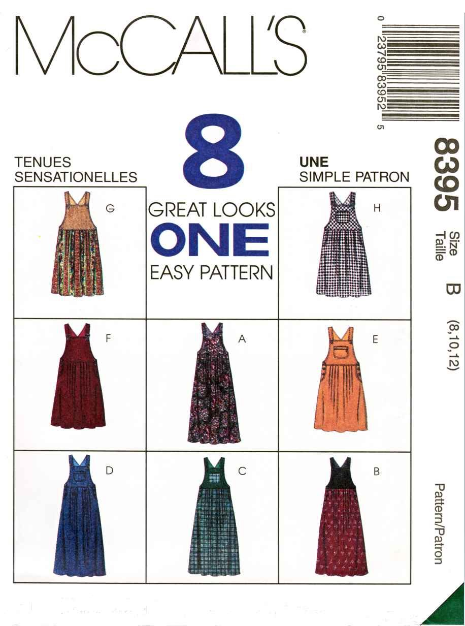 McCalls Sewing Pattern 8395 Misses Size 8-12 Easy Overall Bib Style Jumpers Length Options