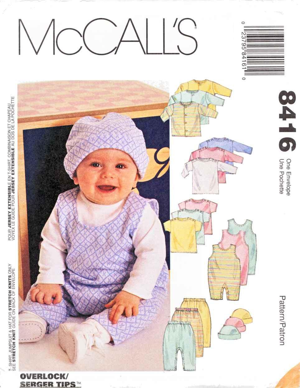 McCalls Sewing Pattern 8416 Baby Infant Size 13-24# Layette Knit T-Shirt Jumpsuit Cap