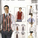 "McCall's Sewing Pattern 2447 Mens Size 34-44"" Long Short Sleeve Shirt Lined Vest Necktie Bow Tie"