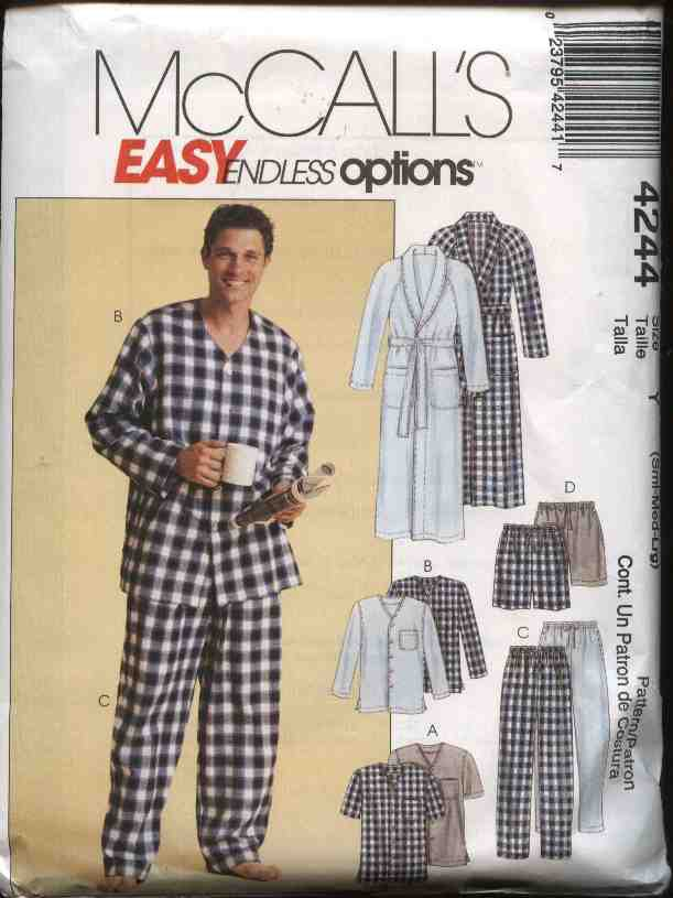 """McCall's Sewing Pattern 4244 Mens Size XL-XXL 46-52"""" Easy Classic Pajamas Robe Pants Tops Shorts"""