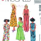 McCalls Sewing Pattern 8646 Girls Size 10-14 Easy Dress Jumpsuit SunDress