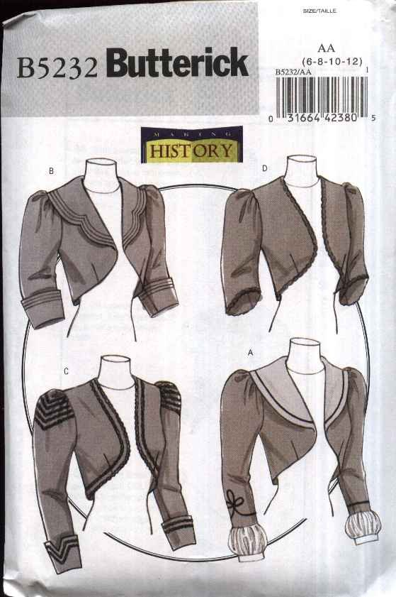 Butterick Sewing Pattern 5232 Misses Size 6 12 Victorian