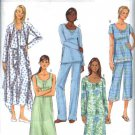 Butterick Sewing Pattern 5571 Misses Size 4-14 Easy Pajamas Pants Top Nightgown Robe Gown